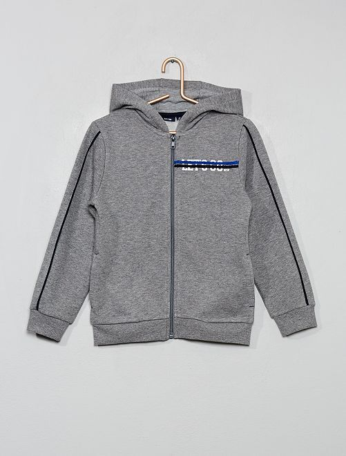 Sweat zippé à capuche                                                     gris