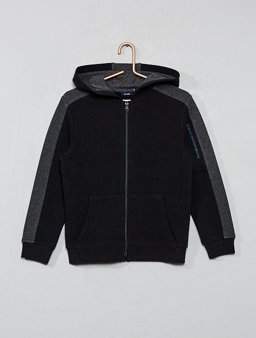 Sweat zippé à capuche                                         gris/noir Garçon
