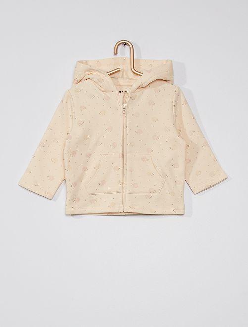 Sweat zippé à capuche 'hérissons'                                                     beige rosé