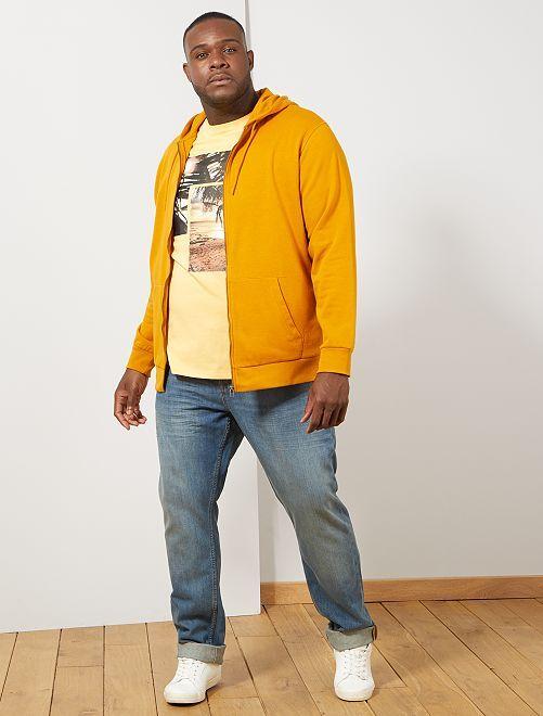 Sweat zippé à capuche                                                                                         jaune Grande taille homme