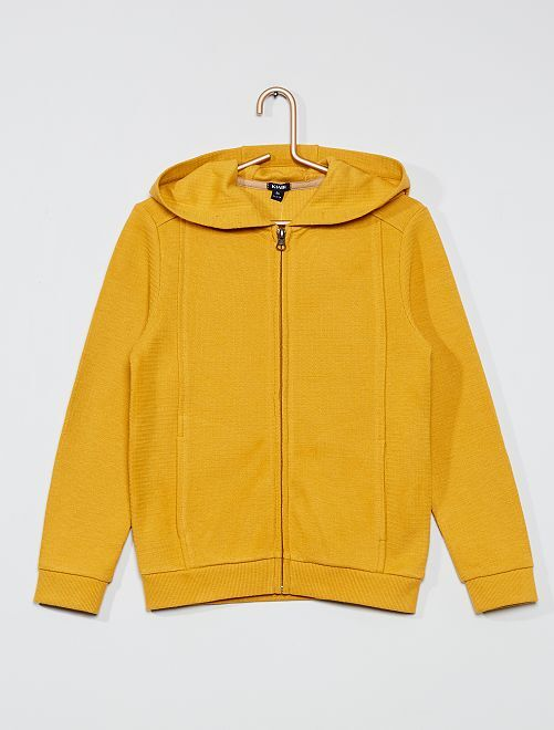 Sweat zippé à capuche                                 jaune moutarde