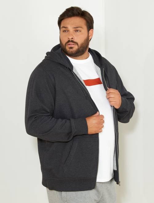 Sweat zippé à capuche molleton léger                                                     gris foncé chiné Grande taille homme