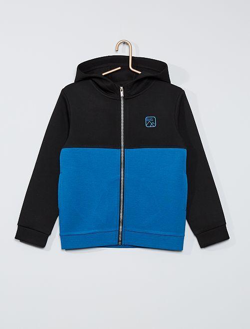 Sweat zippé à capuche                                                     noir/bleu