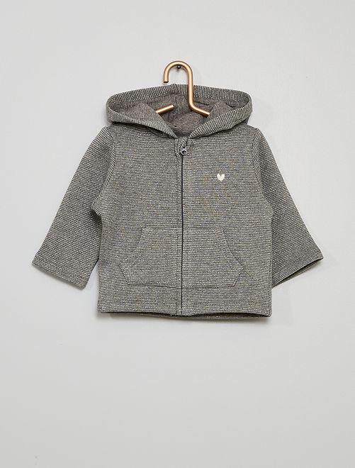 Sweat zippé à capuche                                                                 rayé gris