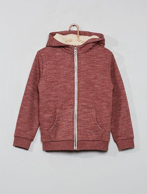 Sweat zippé à capuche                                                                             rouge