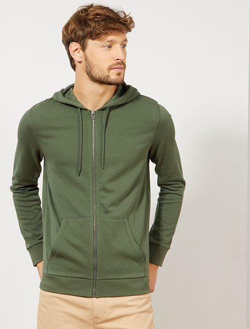 Sweat zippé à capuche                                                                                                                                                                             vert thym
