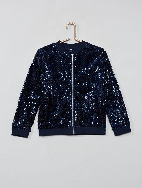 Sweat zippé à sequins                             bleu
