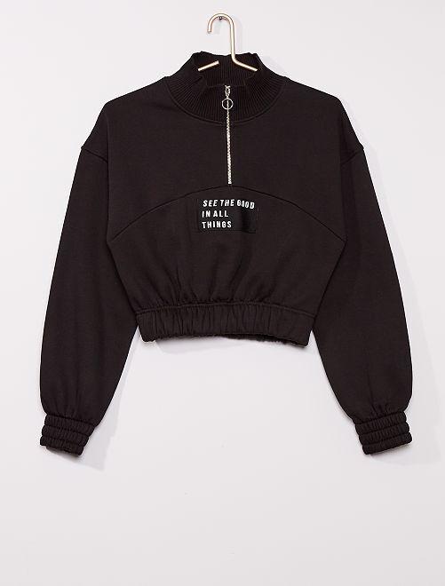 Sweat zippé cropped                                         noir