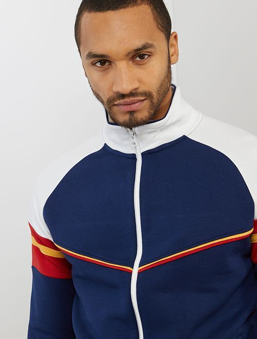 Sweat zippé éco-conçu                             bleu marine/rouge/blanc