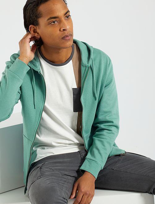 Sweat zippé éco-conçu                                                                             bleu turquoise