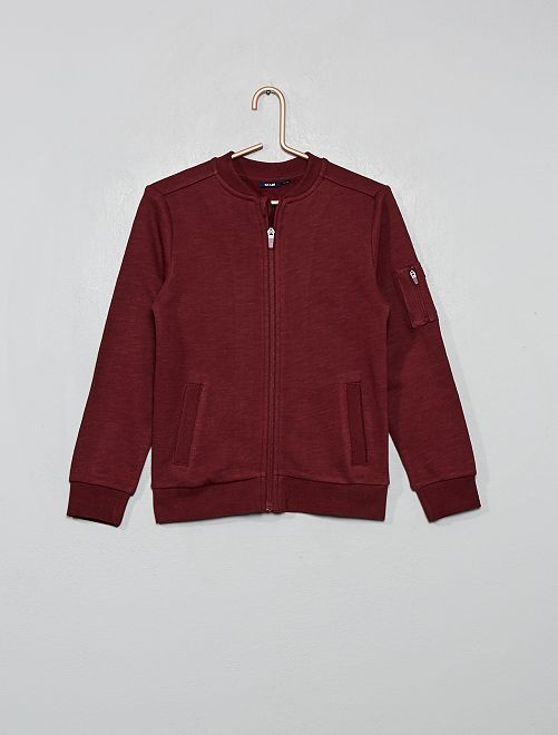 Sweat zippé forme bomber                                                     bordeaux