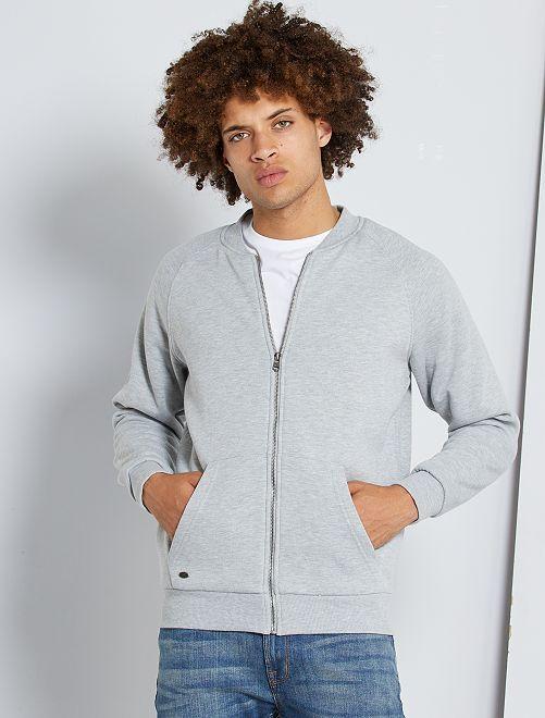 Sweat zippé fourré                             gris clair