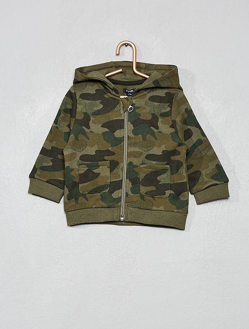 Sweat zippé imprimé                                                                                         camouflage