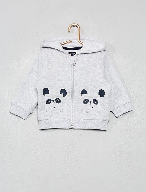 Sweat zippé imprimé                                                                                         gris/panda