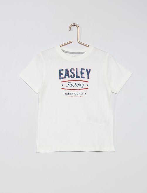 T-shirt 100% coton imprimé                                                                                                                                         blanc