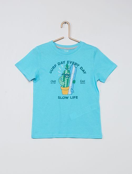 T-shirt 100% coton imprimé                                                                                                                                         bleu ciel