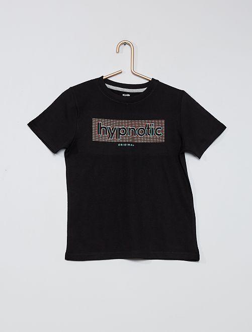 T-shirt 100% coton imprimé                                                                                                                                         noir
