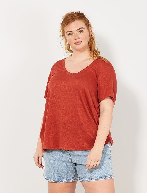 T-shirt 100% lin                                                                 rouge ocre Grande taille femme