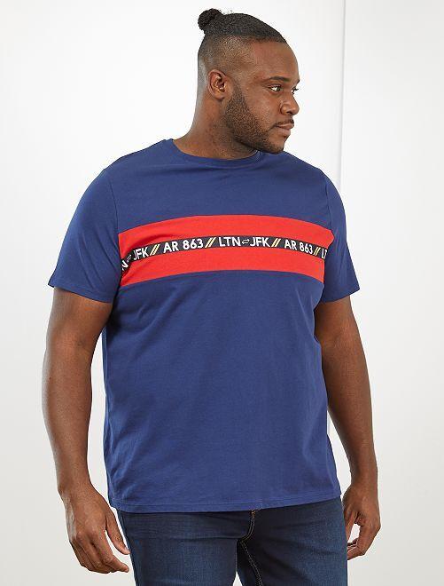 T-shirt à bandes                                         bleu foncé