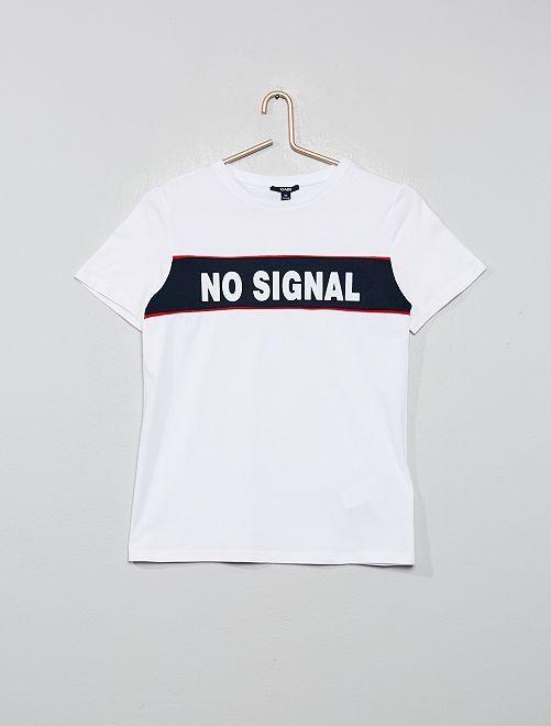 T-shirt à bandes + message                                         blanc