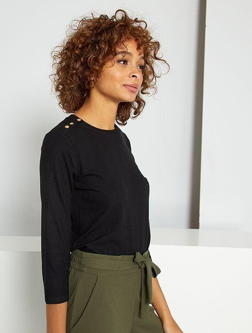 T-shirt à boutons dorés                                         noir