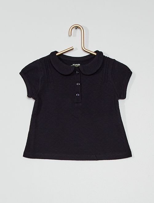 T-shirt à col éco-conçu                                                     bleu