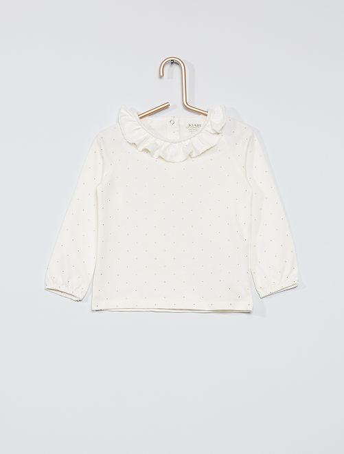 T-shirt à col éco-conçu imprimé                                                                             écru pois