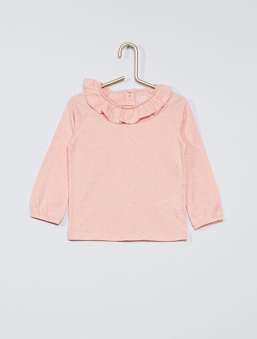T-shirt à col éco-conçu imprimé                                                     rose pois