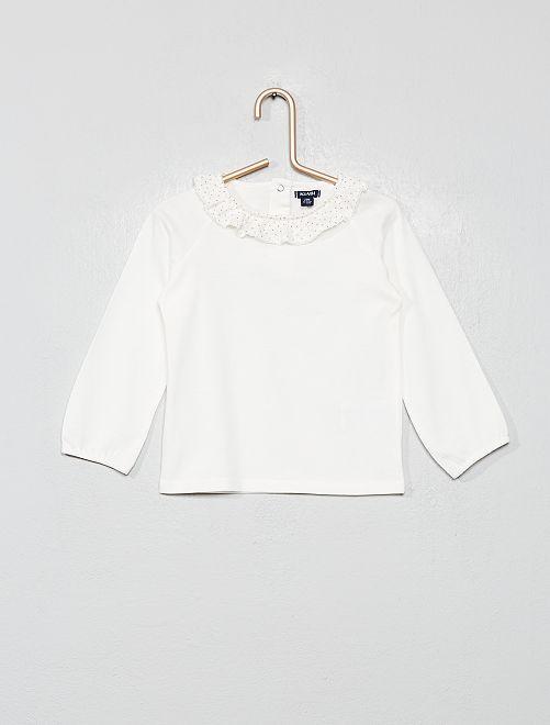 T-shirt à collerette                                                                 BLANC Bébé fille