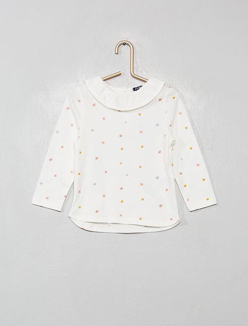 T-shirt à collerette                             blanc