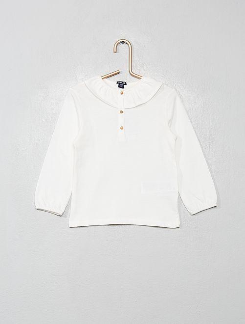 T-shirt à collerette                                         blanc cassé