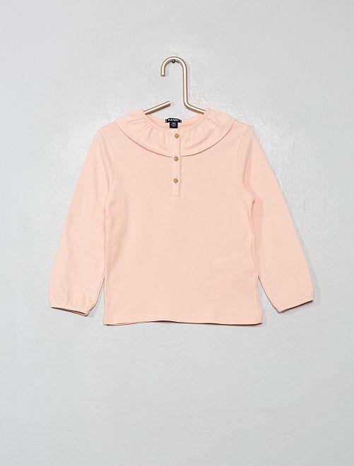 T-shirt à collerette                                                     rose clair