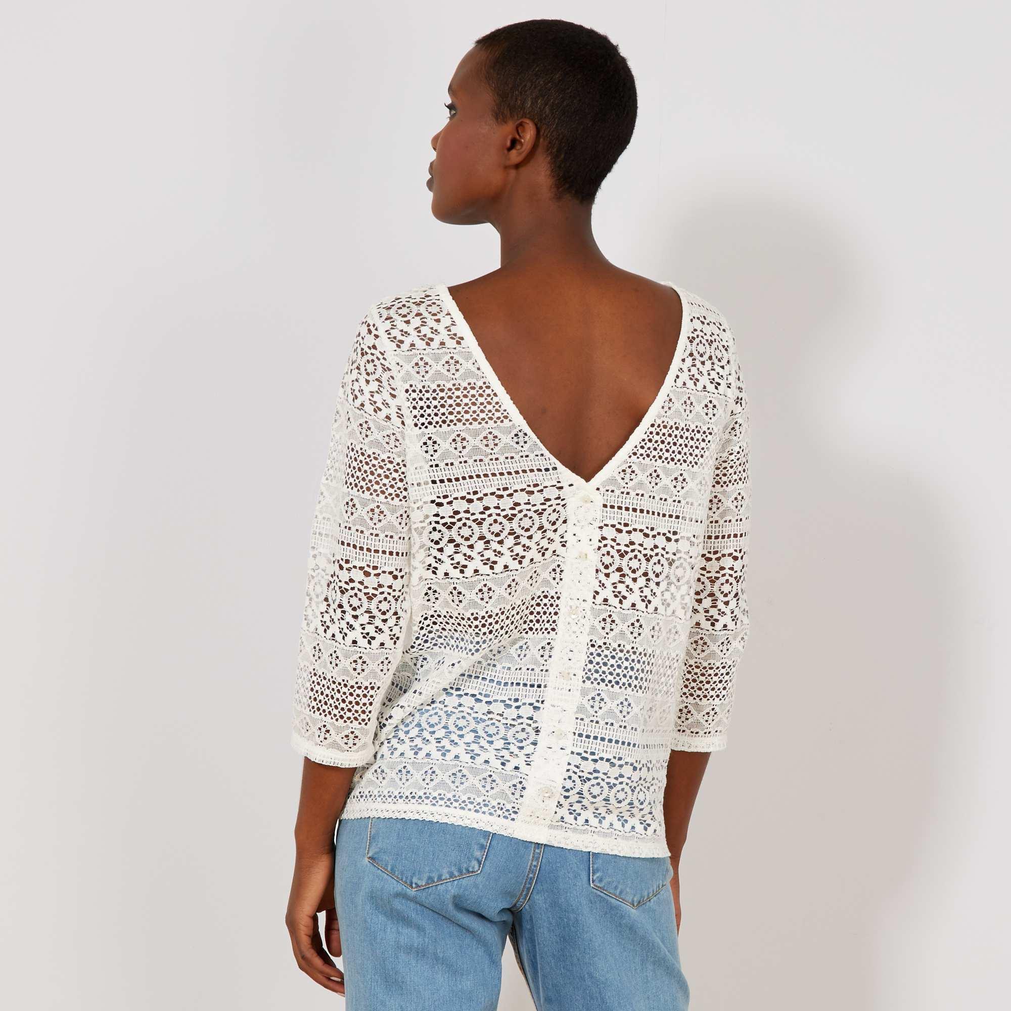 25150f04f4b T-shirt à dentelle Femme - blanc - Kiabi - 15