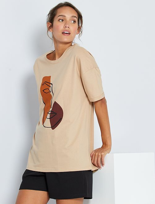 T-shirt à dessin                                         beige