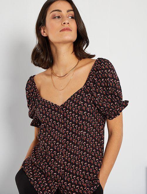T-shirt à encolure carrée                                         noir imprimé