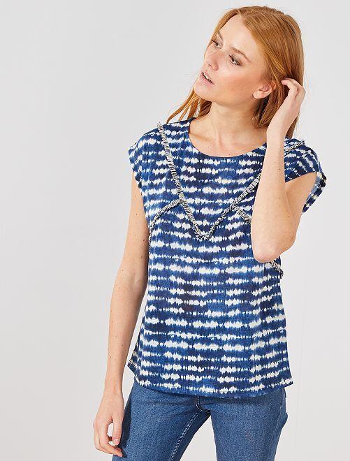 T-shirt à franges tie and dye                             bleu Femme