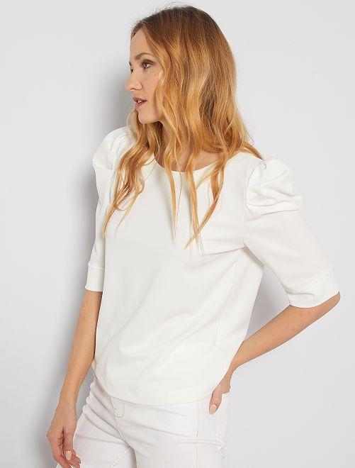 T-shirt à manches bouffantes                                         blanc