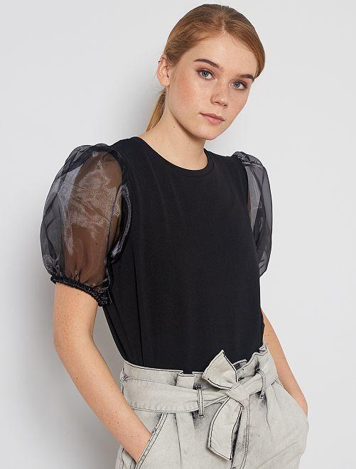 T-shirt à manches bouffantes en organza                             noir