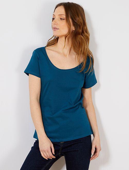 T-shirt à manches courtes                                                                                                                                         bleu canard Femme