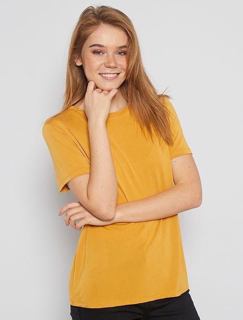 T-shirt à manches courtes en modal                                                                             jaune