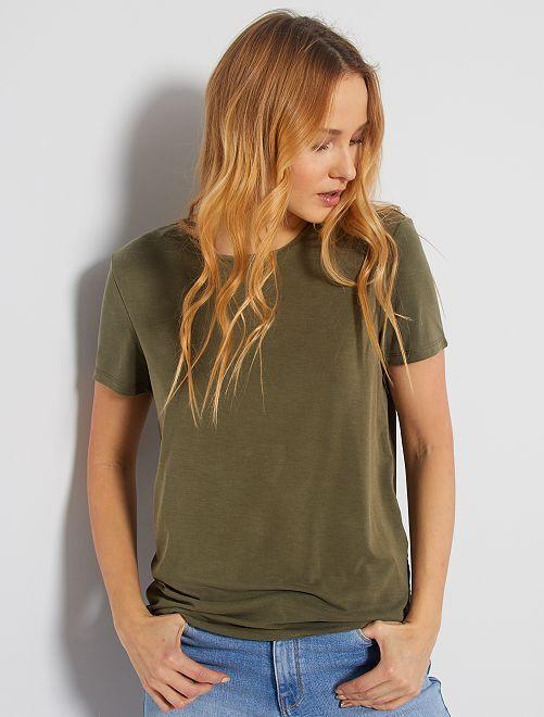 T-shirt à manches courtes en modal                                                                             kaki