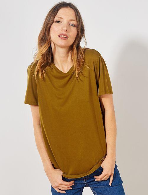 T-shirt à manches courtes en modal                                                     marron