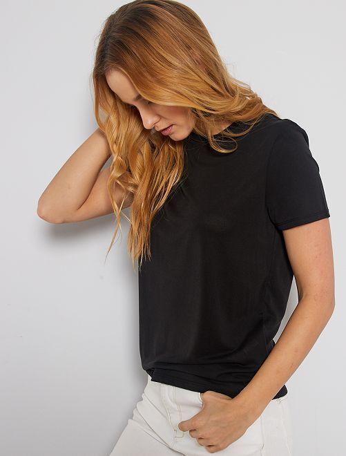 T-shirt à manches courtes en modal                                                                             noir