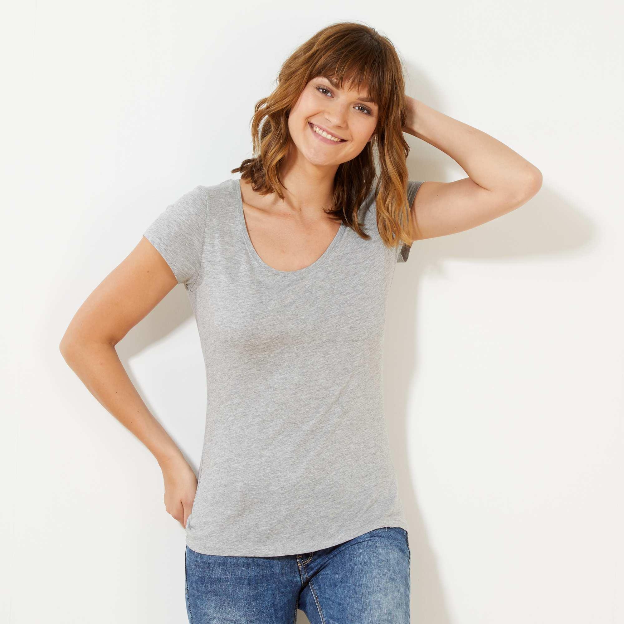 Couleur : gris chiné clair, noir, blanc,bleu marine,orange pale - Taille : XL, S, L,M,On met de la couleur dans ses tenues avec ces T-shirts à tout petit prix ! -
