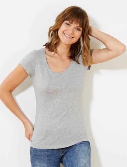 T-shirt à manches courtes                                                                                                                                                                                                                 gris chiné clair