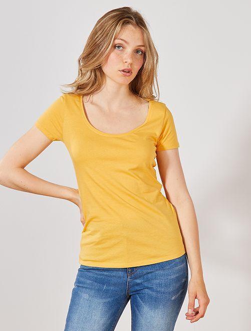 T-shirt à manches courtes                                                                                                                                                                                         jaune Femme