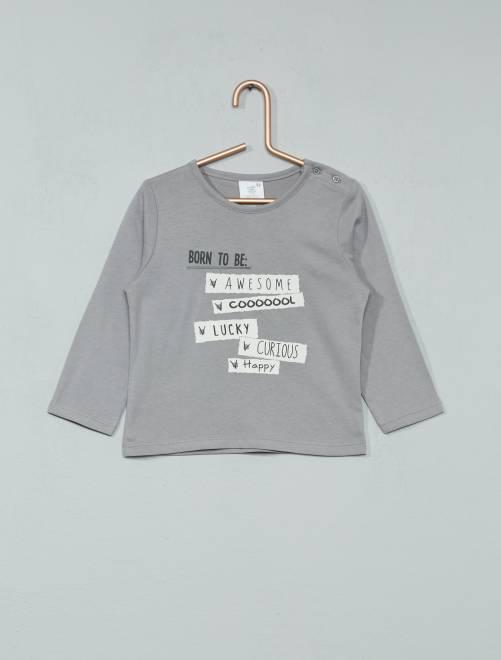 T-shirt à manches longues imprimé gris Bébé garçon