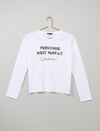 f2d0060e0 T-shirt manches longues Fille adolescente | taille s | Kiabi