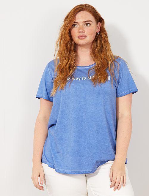 T-shirt à message                                         bleu Grande taille femme