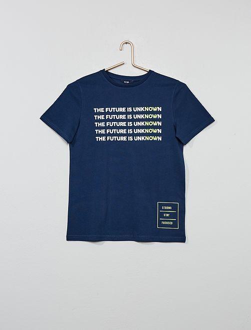 T-shirt à message                             bleu marine Garçon adolescent